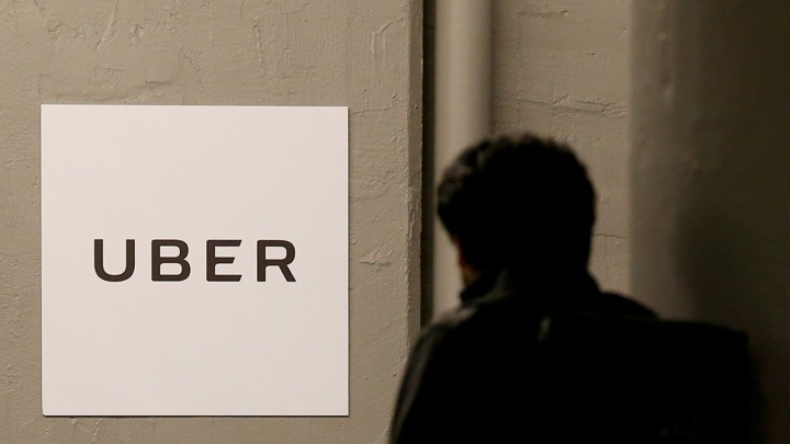 A man at Uber's office in Queens, New York