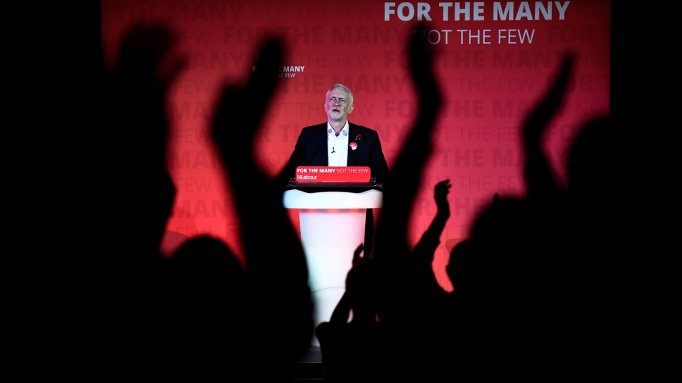 Jeremy Corbyn, leader of Britain's opposition Labour Party, speaks at his closing election campaign rally in London on June 7, 2017.