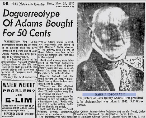 a news report announcing the finding of the adams accompanied by an ad for a waterweight reducer ap google news