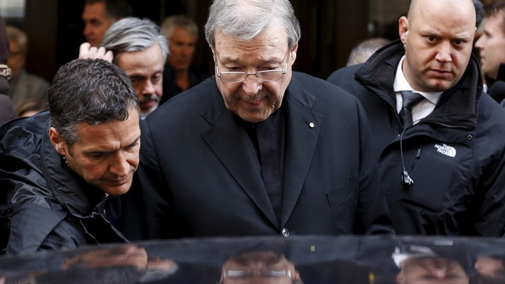 Pell leaves the Quirinale hotel in Rome on March 3, 2016.