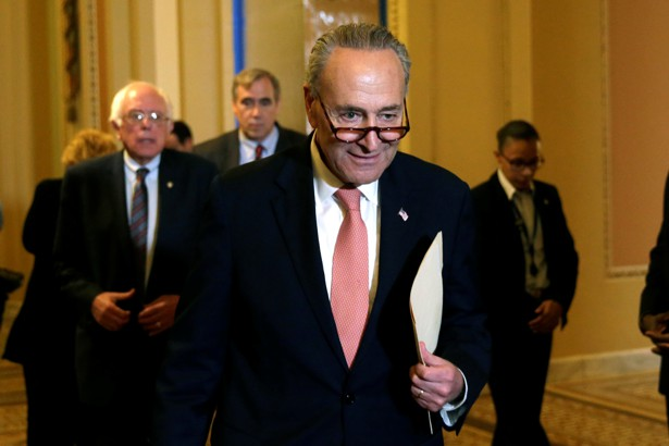 Schumer arrives to talk to media on Capitol Hill on May 23, 2017.