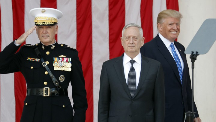 General Joe Dunford, Defense Secretary James Mattis, and President Donald Trump