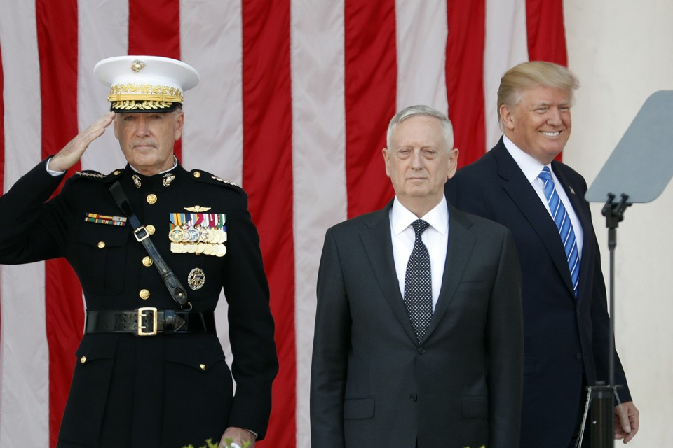 General Joe Dunford, Defense Secretary James Mattis, and President Donald Trump