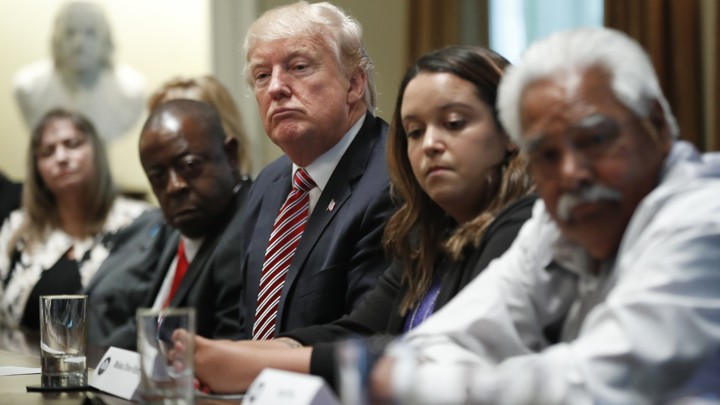 President Trump at a Cabinet Room meeting with family members of Americans killed by undocumented immigrants