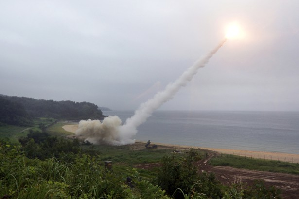 U.S. Army Tactical Missile System fires a missile during the combined military exercise between the U.S. and South Korea.