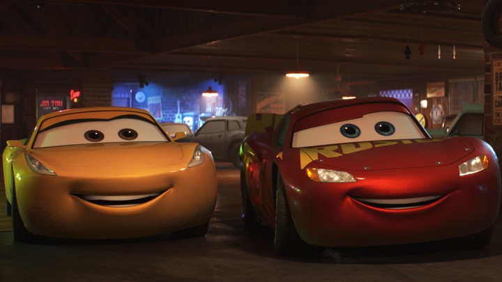 A screenshot from the Pixar film Cars 3