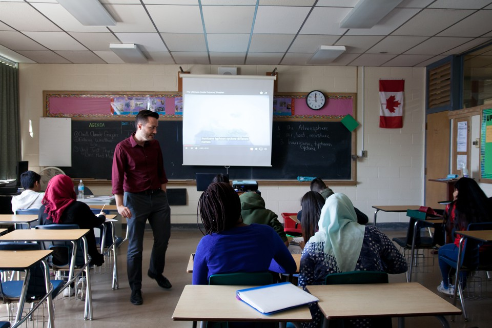 A teacher stands at the front of a classroom in Canada  students sit at  desksThe  Trump Effect  on Canadian Schools   The Atlantic. Door County Living Classrooms. Home Design Ideas