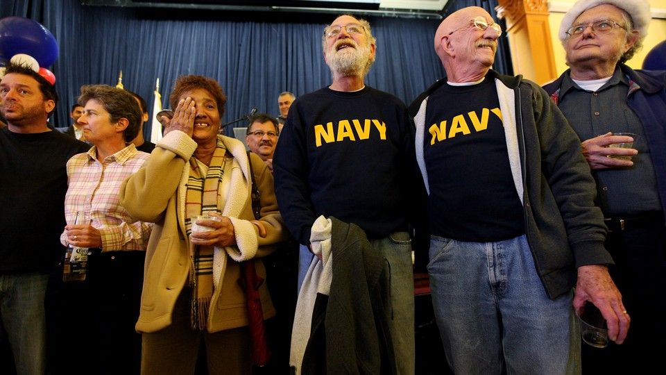 Gay and transgender veterans during a rally in San Diego, California, in  December 2010 Sandy Huffaker / Getty
