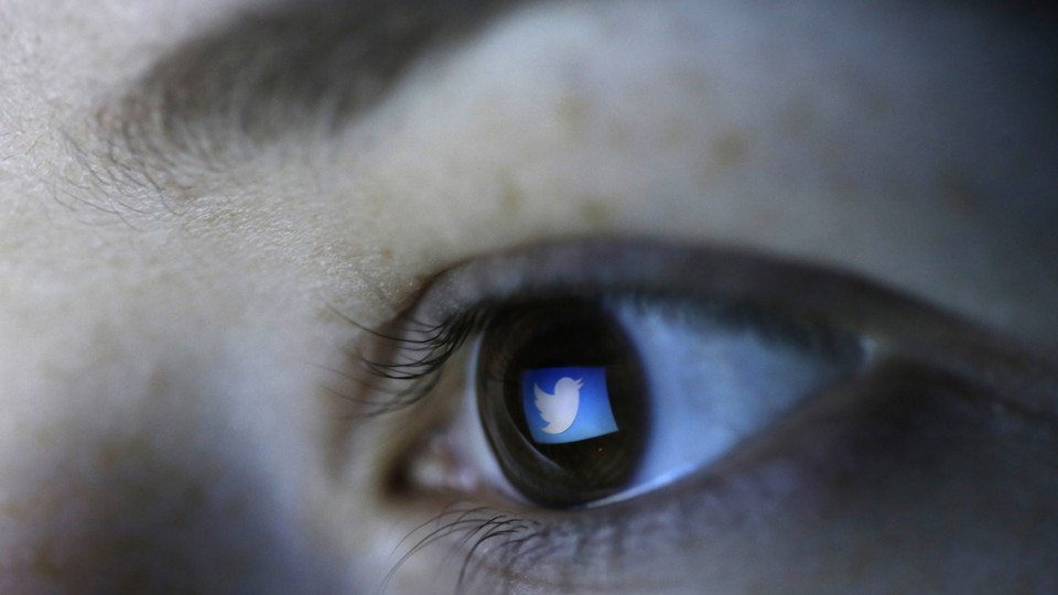 The Twitter logo is reflected in the pupil of a brown eye.