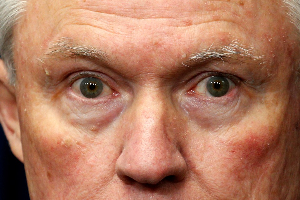 A close-up shot of Jeff Sessions's face