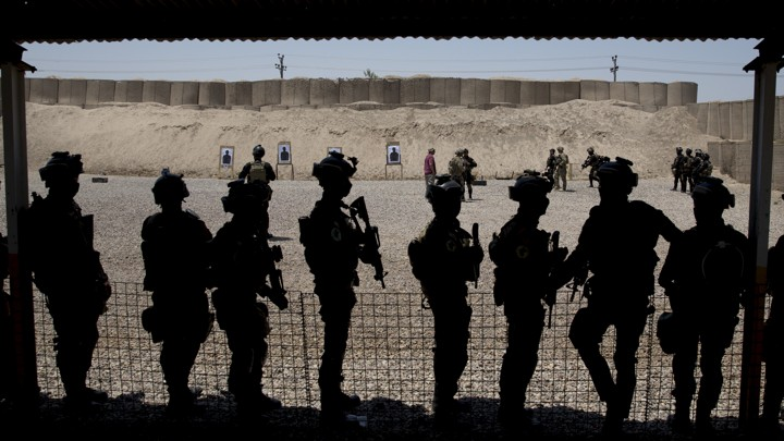 Outlines of Iraqi soldiers at the Counter Terrorism Service training location in Baghdad, Iraq.