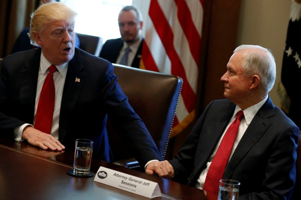 President Trump and Attorney General Jeff Sessions at a Cabinet meeting in March