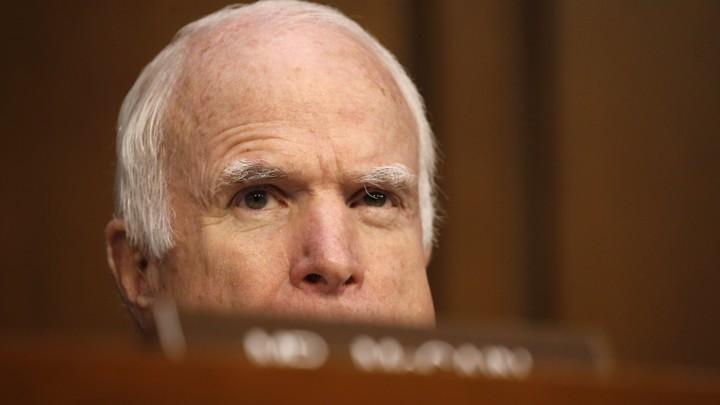 Senator John McCain during the James Comey testimony in June 2017