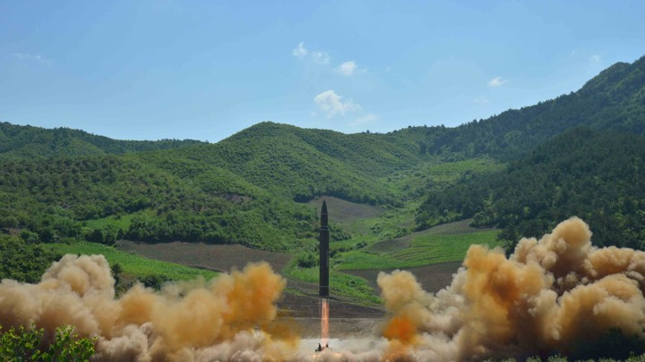 The Hwasong-14 missile is seen during its test launch.
