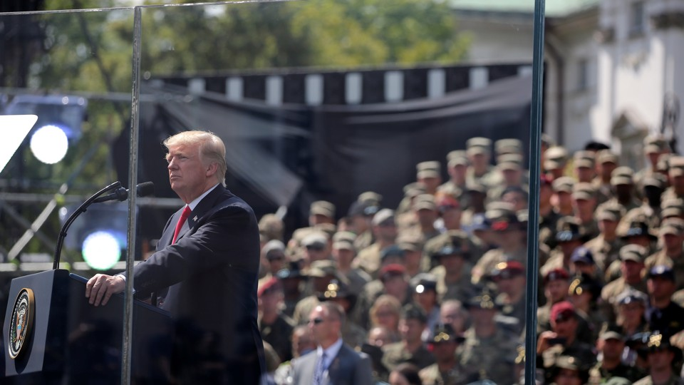 U.S. President Donald Trump gives a public speech at Krasinski Square in Warsaw.