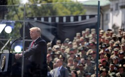 U.S. President Donald Trump gives a public speech at Krasinski Square in Warsaw.