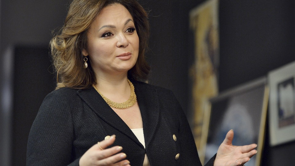 Russian lawyer Natalia Veselnitskaya speaks and gestures towards the camera.