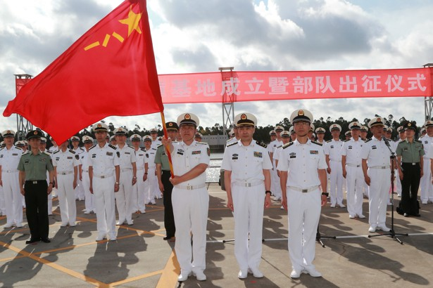 peopleus liberation army soldiers stand guard at a military port in zhanjiang guangdong province