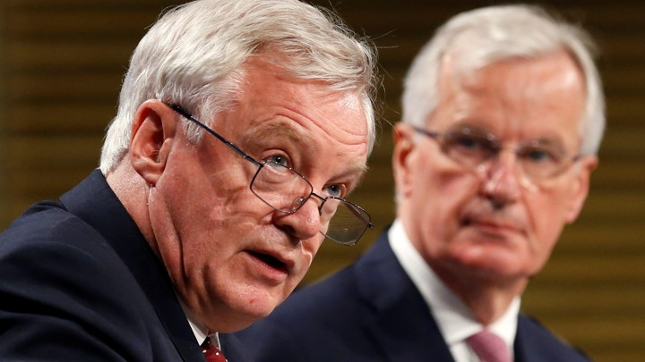 David Davis, the U.K. Brexit Secretary, andMichel Barnier, the EU's Chief Brexit Negotiator, hold a joint press conference concluding the second round of Brexit talks in Brussels, Belgium on July 20, 2017.