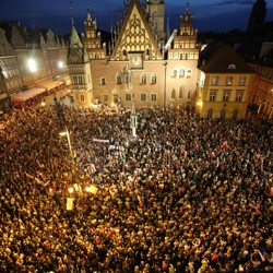 People protest against the supreme court legislation in Wroclaw, Poland, on July 20.