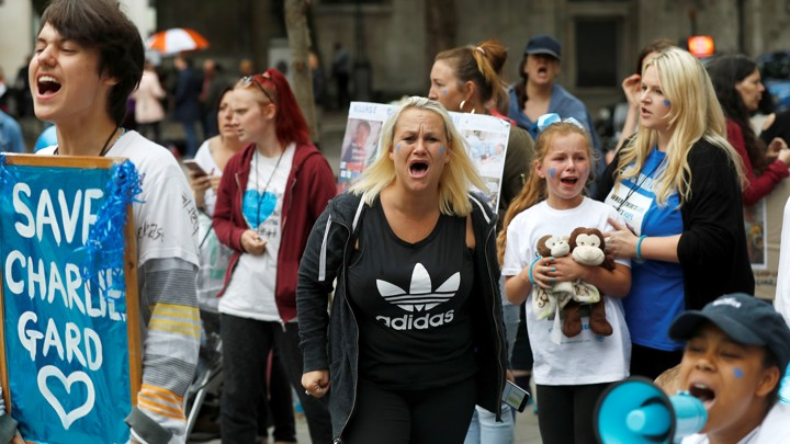 Supporters of Charlie Gard's parents outside the High Court in London on Monday