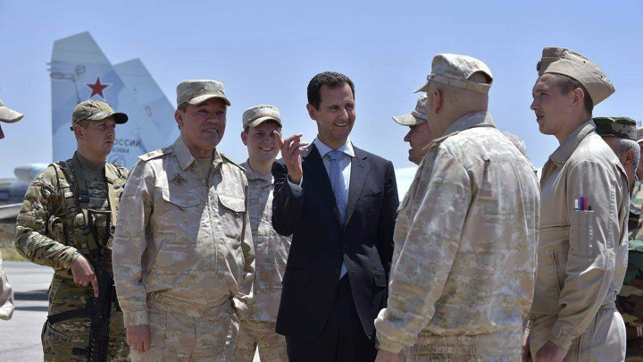 Syrian President Bashar al-Assad inspects the Russian Hmeimim air base in Latakia, Syria on June 27, 2017.