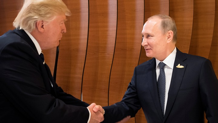 Trump and Putin shake hands during the G20 Summit in Hamburg, Germany on July 7, 2017.