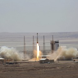 A picture from the official website of the Iranian Defense Ministry claims to show the launch of a satellite-carrying rocket on July 27, 2017.