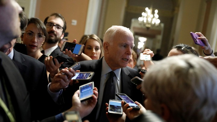 Arizona Senator John McCain speaks with reporters on Capitol Hill on July 13, 2017.