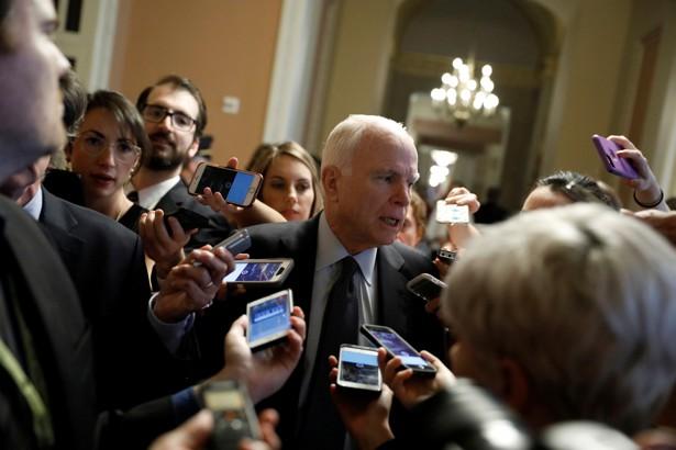 Arizona Senator John McCain speaks with reporters on Capitol Hill on July 13, 2017.