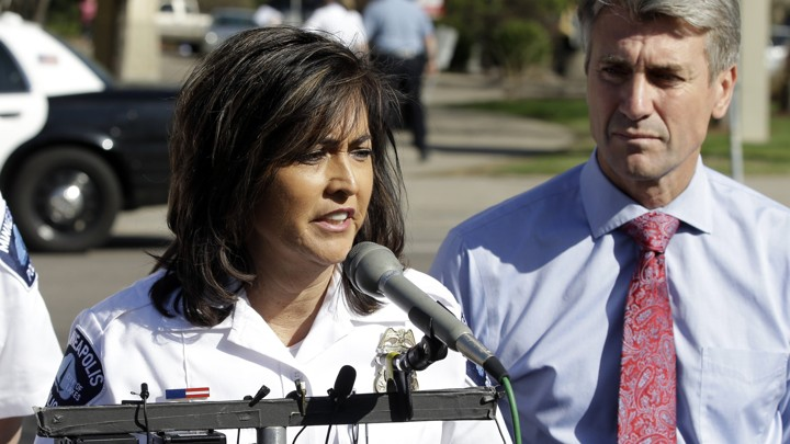 Minneapolis Police Chief Janee Harteau addresses the media following a shooting in May 2013.