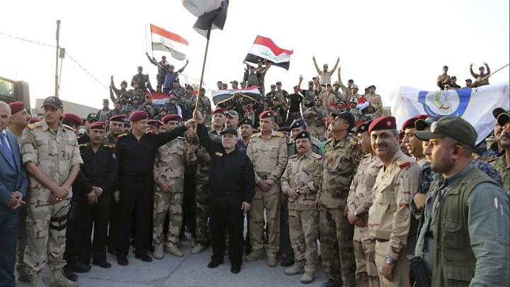 Iraq's prime minister declares victory on the edge of Mosul's Old City on July 10, 2017.