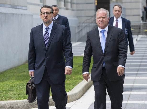Wildstein leaves a federal court on July 12 with his attorney, Alan Zegas.