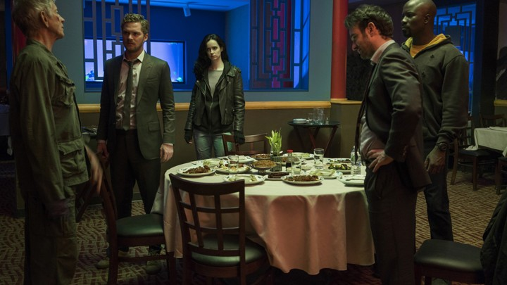Stick (Scott Glenn), Danny Rand/Iron Fist (Finn Jones), Jessica Jones (Krysten Ritter), Matt Murdock/Daredevil (Charlie Cox), and Luke Cage (Mike Colter) in a scene from Netflix's 'The Defenders'
