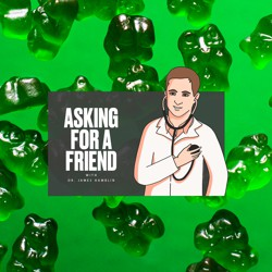 A cartoon doctor puts a stethoscope to his own chest in front of a background of green gummy bears.