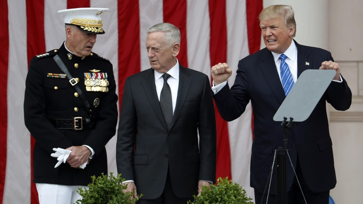 Donald Trump with General Joe Dunford, chairman of the Joint Chiefs of Staff, and Defense Secretary James Mattis