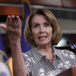 House Minority Leader Nancy Pelosi gestures during a news conference on Capitol Hill in Washington on July 27.
