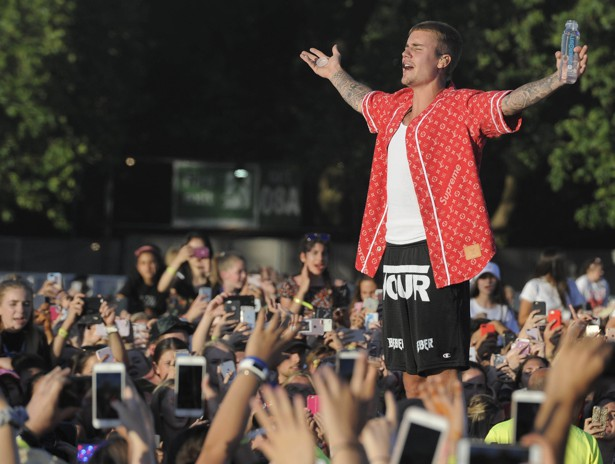 Justin Bieber performing in London's Hyde Park