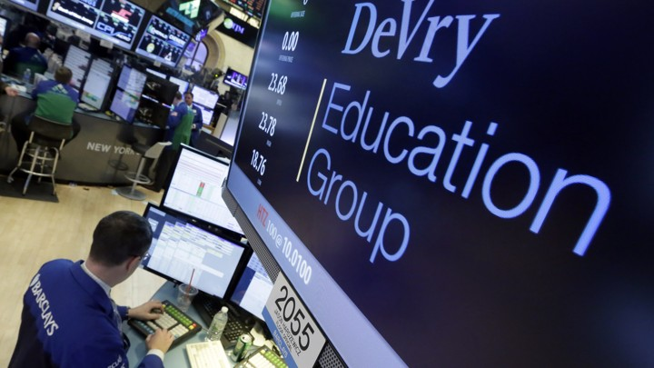 A screen showing the words DeVry Education Group at the New York stock exchange.