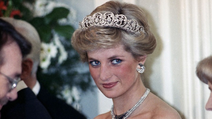 Diana, Princess of Wales, in a diamond tiara and black dress during a reception in Bonn, Germany, in 1987