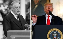 A photograph of Franklin Roosevelt compared with a photograph of Donald Trump