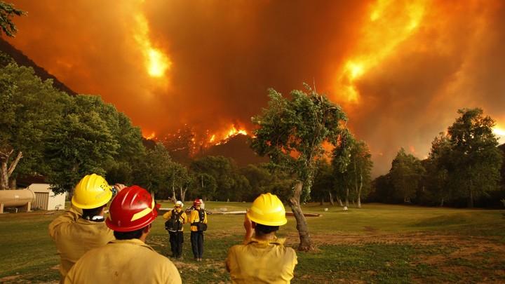 A wildfire burns in California in 2013.