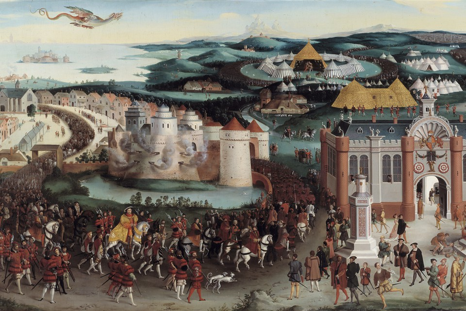 A painting of a meeting in the year 1520 between King Henry VIII of England and King Francois I of France