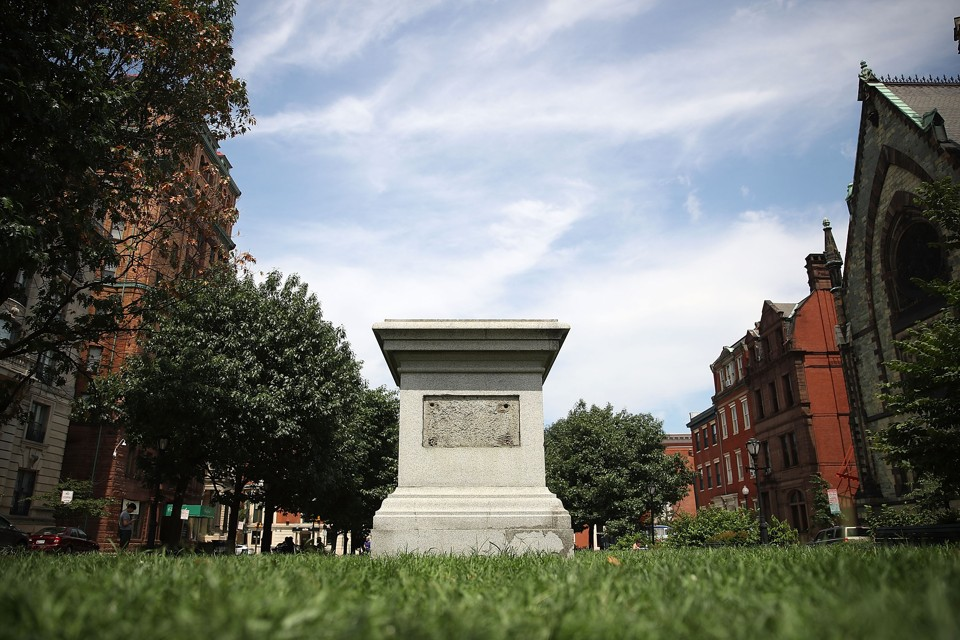 A pedestal in Baltimore that held a statue of the former Supreme Court Chief Justice Roger B. Taney, author of the Dred Scott decision