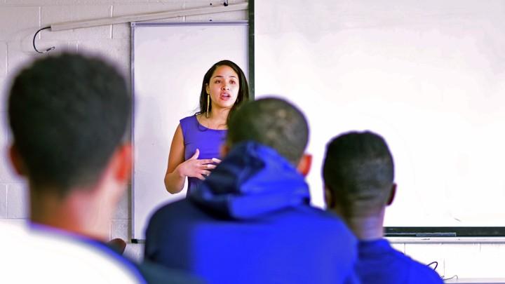 Keshia Ashe speaks to students