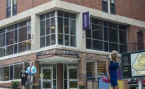 A building on the Carlow University campus with a sign that reads University Commons.
