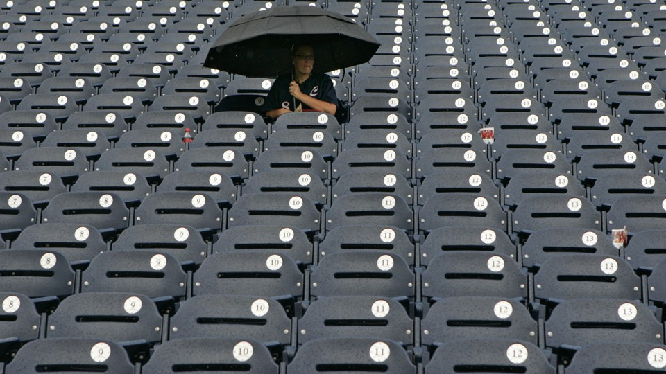 Woman in baseball stands
