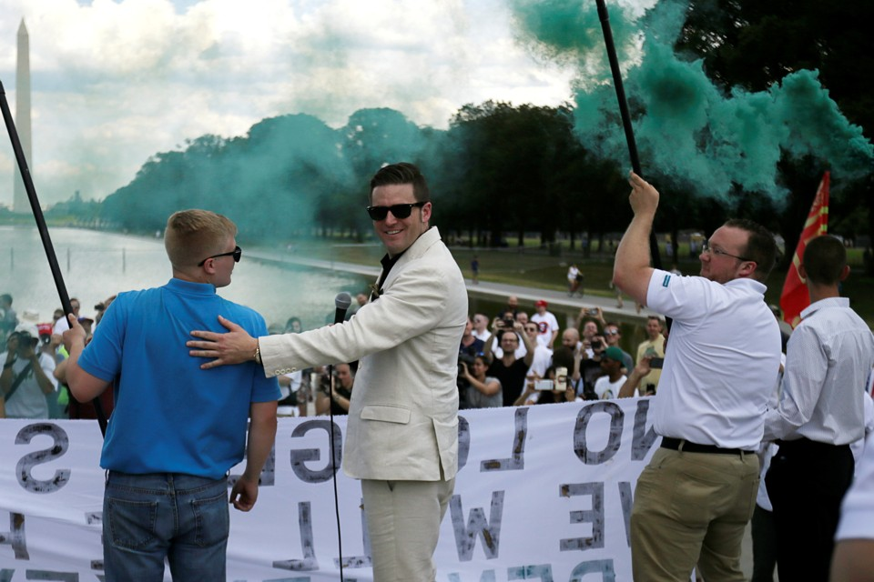 Richard Spencer in front of a crowd on the National Mall