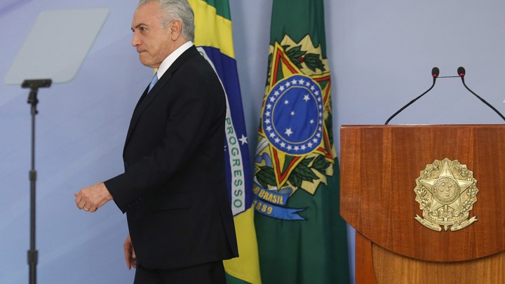Brazilian President Michel Temer at the Planalto Palace in Brasilia, Brazil on August 2, 2017.
