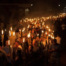 Protesters march in Charlottesville, Virginia.
